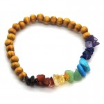 Chakra Chip & 52mm Wood Ball Bracelet