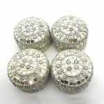 Round Silver Mirror Trinklet Box (4 Pcs)