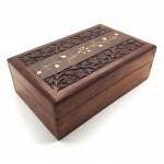 Rosewood Box Flower Brass Inlay - 1 Pcs