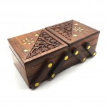 Rosewood Trinket Folding Box Brass Inlay - 1 Pcs