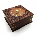 Rosewood Square Box Brass Inlay - 1 Pcs