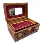 Rosewood Trinket Mirror Box With Tray Brass Inlay - 1 Pcs