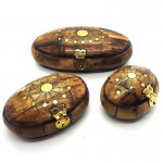 Oval Bone Box Brass Inlay (3 Pcs)
