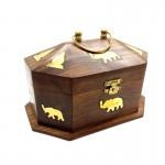 Rosewood Trinket Box Elephant Brass Inlay - 1 Pcs