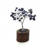 Lapis Gem Tree on Wooden Base 60 Beads