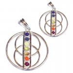 2 For 1 Price - Chakra Wheel of Life Silver Plated Pendant SP Chain