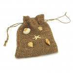 Hessian Bag Shell Deco 14cm x 11cm