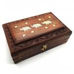 Rosewood Box Brass Elephant Inlay Large