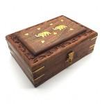 Rosewood Box Brass Elephant Inlay Medium