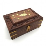 Rosewood Box Brass Elephant Inlay Small