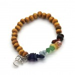 Chakra Chip & 45mm Wood Ball Bracelet with OM