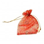 Organza Bag Red with Leaf 3.5x4.75in-12 pcs