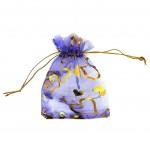 Organza Bag Purple with Hearts 3.5x4.75in-12