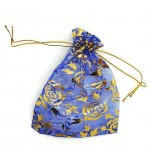 Organza Bag Blue with Roses 3.5x4.75in-12 pcs