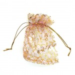 Organza Bag Pink with Leaf 3.5x4.75in-12 pcs