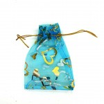 Organza Bag Blue with Hearts 3.5x4.75in-12 pcs