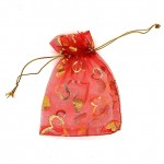 Organza Bag Red with Hearts 3.5x4.75in-12 pcs
