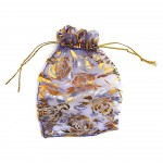 Organza Bag Purple with Roses 3.5x4.75in-12 pcs