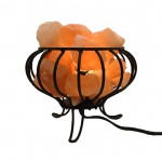 Salt Lamp Basket with Chunks 6in