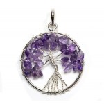 Tree of Life Pendant Amethyst Silver Plated