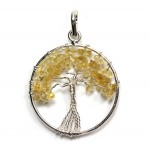 Tree of Life Pendant Citrine Silver Plated