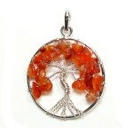 Tree of Life Pendant Carnelian Silver Plated
