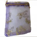 Organza Bag Purple with Butterflies 3.5x4.75in-12 pcs