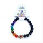 Chakra Ball Agate Bracelet with Hamsa Hand