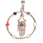 Chakra Buddha Hand Silver Plated Pendant
