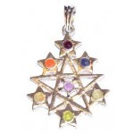 Chakra 7 Star Silver Plated Pendant SS Chain