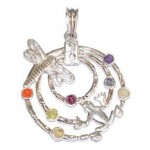 Chakra Frog Butterfly Silver Plated Pendant SS Chain