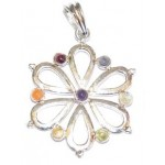 Chakra Flower of Life Silver Plated Pendant SS Chain