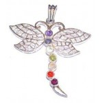 Chakra Butterfly Silver Plated Pendant SS Chain