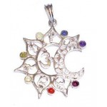 Chakra OM Silver Plated Pendant