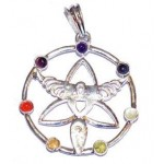 Chakra Angel Silver Plated Pendant SP Chain