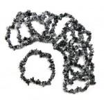 Snowflake Obsidian Chip Bracelet 7.5 in