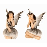 Fairy Sitting Grey Glitter 6cm 7303 - 12 pcs